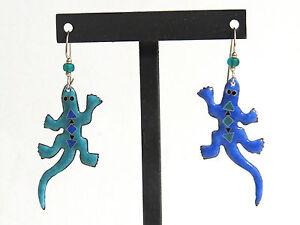 Hand Crafted Enamel Lizard Pierced Earrings Blue / Teal French Hooks