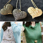 Fashion Women New Chic 3D Big Hollow Peach Heart Long Chain Sweater Necklace