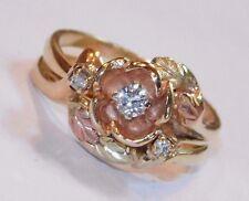 Black Hills Gold 14 kt  Diamond In Rose Ring Wedding Set Landstrom's Size 6 1/2