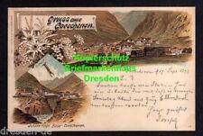 118485 AK Göschenen Litho 1897 Bahnhof Blumen Edelweiß Panorama