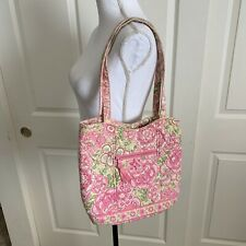 Vera Bradley Petal Pink Shoulder Tote Bag Pockets Pink Green Quilted Retired