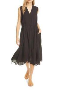NWT VINCE Drawstring Linen Blend V-Neck Midi Dress Lagenlook
