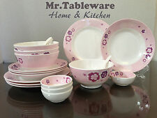 20-Piece Melamine Dinnerware Set Bowl Plate Spoon Flower V228 (FDA Compliance)