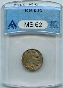 1916-S Buffalo Nickel 5c ANACS MS 62
