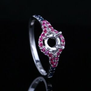 5mm Round Sterling Silver 925 Natural Ruby&Sapphire Engagement Wedding Fine Ring