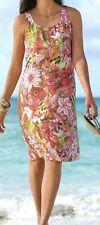 J.jill Dress - Printed Linen Tank Dress 4x Sunset Red Paradise Floral