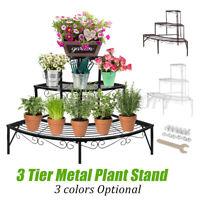 3 Tier Metal Corner Flower Pot Stand Plant Ladder Pot Holder Display Rack Shelf