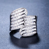 Elegant Princess Cut White Sapphire 925 Silver Jewelry Women Ring Size 6-10