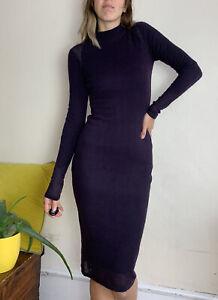 Luxurious Jumper Dress By Elie Tahari 100% Cashmere S Uk 8 10 Deep Purple