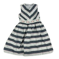 Bonnie Jean Sz 5 Girls Dress White W/ Blue Pink Stripes Rose Flower Lace Easter