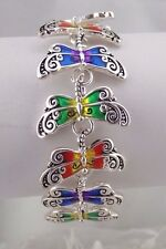 Silver Multi Color Dragonfly Bracelet Magnetic Clasp Fashion Jewelry NEW