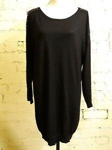 Black lightweight jumper dress, size 14, scoop neck, silver stud trim, lovely!