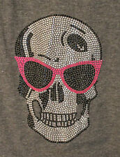 KINGS of COLE Grey Racer Back Tank Top/Vest Pink Crystal Sunglass Skull Detail