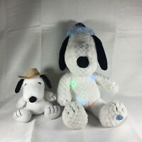 "Peanuts Snoopy Plush 16"" Musical Light Up Christmas Stuffed Toy Farmer Lot of 2"