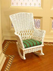 JHL White Wicker Rocking Chair Patio Porch Nursery - Artisan Dollhouse Miniature