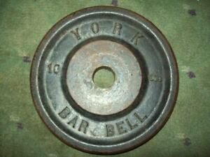 "(1) vtg VERY RARE YORK BARBELL ""ONE-SIDED"" 10 Bodybuilding Fitness GYM Iron"