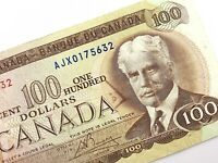 1975 Canada 100 Dollar Circulated AJX Replacement Banknote Lawson Bouey R228