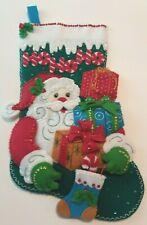 """Beautiful Completely Handmade 18-In Christmas Stocking """"HOHOHO Santa"""" Bucilla"""