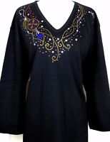 X-LARGE Top Hand Embellished Rhinestone Dangling Ornaments Christmas Knit Shirt