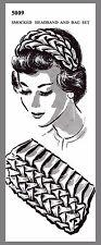 Vintage Mail Order Smocked headband Bag Set Fabric Material sewing pattern #5009