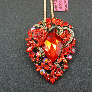 Hot Shiny Red Rhinestone Crystal Flower Betsey Johnson Pendant Necklace/Brooch