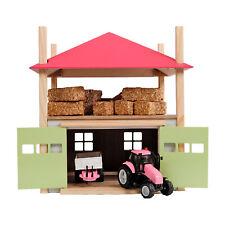 Spielzeug Holz Heuschober mit Lager Heulager Bauernhof Gebäude rosa M 1:32