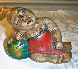 """DELIGHTFUL ASIAN WOOD CARVING OF A MALE CHILD SLEEPING ON A WATER MELON 6"""" LONG"""