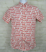 Coca Cola All Over Print Logo Button Short Sleeve Shirt Sz Small White Red