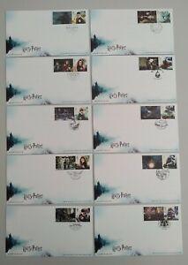 2018 Harry Potter Set of 10 Smiler Stamps & Labels on 10 FDC 10 different pmk