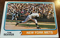 1974 TOPPS SIGNED AUTO CARD TOM SEAVER NEW YORK METS REDS WHITE RED SOX HOF # 80