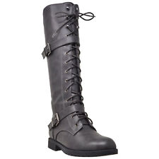 Womens Knee High Boots Lace Up Combat Leather Buckle Straps Shoes
