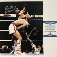 Autographed/Signed SUGAR RAY LEONARD & ROBERTO DURAN 8x10 Photo Beckett COA #2