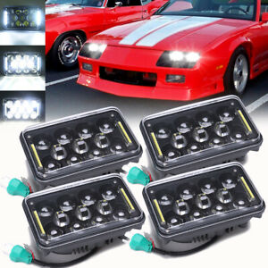"For Chevy C10 C20 C30 EI Camaro DOT 4PCS 4x6"" LED Headlights Hi/Lo Beam Halo DRL"
