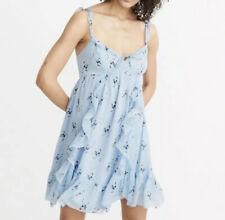 Abercrombie & Fitch Blue Floral Chiffon Ruffle Babydoll Mini Dress Medium NWT