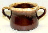 Vintage McCoy Two Handle Soup Bowl Mug Cup Brown Pottery Drip Glaze Dinnerware
