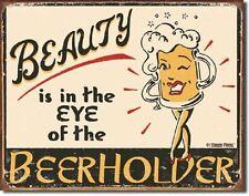 Moore Beauty In Eye Beerholder Retro Funny Humor Wall Bar Decor Metal Tin Sign