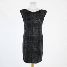 Black and gray plaid TIBI cap sleeve scoop neck above knee shift dress M NWT