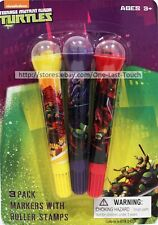 Teenage Mutant Ninja Turtles 3pc Markers w/Roller Stamps Set Yellow+Purple+Red