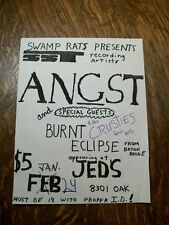 Angst 1980's Punk Flyer Jeds New Orleans - Original Not Repro *