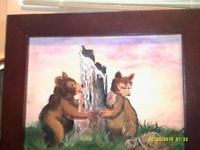 """TWO BEARS BY A TREE LOOKING AT A TURTLE  PAINTING SIZE 8"""" X 10""""  ORIGINAL"""