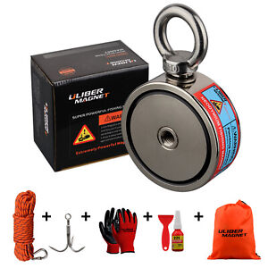 440bs*2 Two sided Strong Fishing Magnet Kit N52 Grapping Hook 20M durable Rope