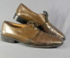 Fratelli Mens Brown X stitch Leather Square Toe Oxfords Dress Shoes 9.5M