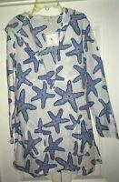 Barbara Gerwit Women's Starfish Tunic Hooded Beach Coverup NWT Small