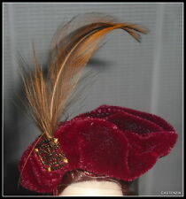 HAT BARBIE AUTUMN IN PARIS DOLL FAUX GOLD CHARM BERET WITH FEATHERS FOR DIORAMA