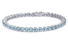 """Aquamarine Hearts .925 Sterling Silver Bracelet 7.25"""""""