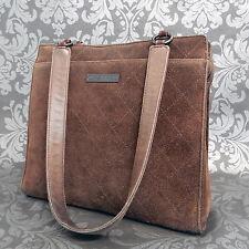 Rise-on Vintage CHANEL Suede Brown Leather Shoulder bag Handbag #1719