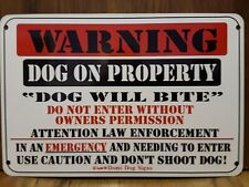 "Metal Warning Dog Sign For FENCE ,Beware Of Dog 8""x12"" will bite ,may bite"