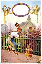 POSTCARD THIELE RABBITS PAINTING PICKET FENCE 1925 J.W.& CO PUBLISHER