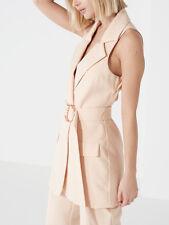 Lavish Alice Beige Nude Open Back Sleeveless Waistcoat Top Jacket 6 8 12 14