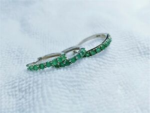 Natural Emerald Huggie Earring And Ring 14k White Gold plate 925Sterling Silver